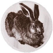 Young Hare Round Beach Towel