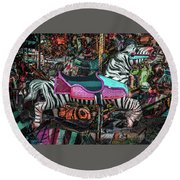 Round Beach Towel featuring the photograph Zebra Carousel by Michael Arend