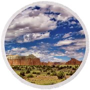 Capitol Reef National Park Catherdal Valley Round Beach Towel