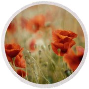 Summer Poppy Meadow Round Beach Towel