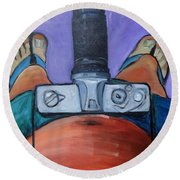 Round Beach Towel featuring the painting 200 Zoom by Gary Coleman