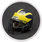 Round Beach Towel featuring the photograph 2000s Era Wolverine Helmet by Michigan Helmet
