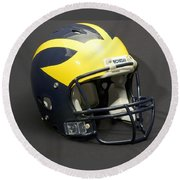 Round Beach Towel featuring the photograph 2000s Wolverine Helmet by Michigan Helmet
