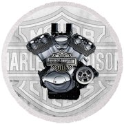 Round Beach Towel featuring the digital art 2002 Harley-davidson Revolution Engine With 3d Badge  by Serge Averbukh