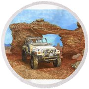2005 Jeep Rubicon 4 Wheeler Round Beach Towel by Jack Pumphrey
