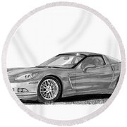 Round Beach Towel featuring the painting  Corvette Roadster, Silver Ghost by Jack Pumphrey