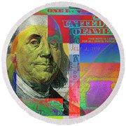 2009 Series Pop Art Colorized U. S. One Hundred Dollar Bill No. 1 Round Beach Towel