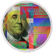 2009 Series Pop Art Colorized U. S. One Hundred Dollar Bill No. 1 Round Beach Towel