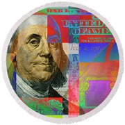 2009 Series Pop Art Colorized U. S. One Hundred Dollar Bill No. 1 Round Beach Towel by Serge Averbukh