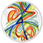 2010 Abstract Drawing Eight Round Beach Towel by Lynne Taetzsch