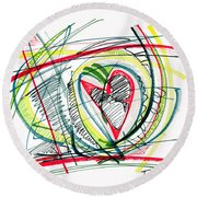 2010 Abstract Drawing Eighteen Round Beach Towel by Lynne Taetzsch