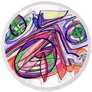 2010 Abstract Drawing Eleven Round Beach Towel by Lynne Taetzsch