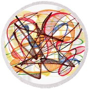 2010 Abstract Drawing Fourteen Round Beach Towel by Lynne Taetzsch