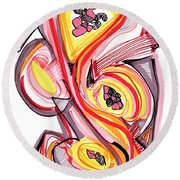 2010 Abstract Drawing Nine Round Beach Towel by Lynne Taetzsch
