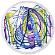 2010 Abstract Drawing Nineteen Round Beach Towel by Lynne Taetzsch