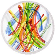 2010 Abstract Drawing Seven Round Beach Towel by Lynne Taetzsch