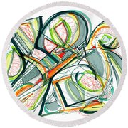 2010 Abstract Drawing Seventeen Round Beach Towel by Lynne Taetzsch
