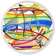 2010 Abstract Drawing Sixteen Round Beach Towel by Lynne Taetzsch