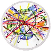 2010 Abstract Drawing Twelve Round Beach Towel by Lynne Taetzsch