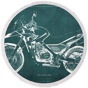 2010 Bmw G650gs Vintage Blueprint Green Background Round Beach Towel