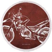 2010 Bmw G650gs Vintage Blueprint Red Background Round Beach Towel