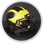 Round Beach Towel featuring the photograph 2010s Wolverine Helmet by Michigan Helmet