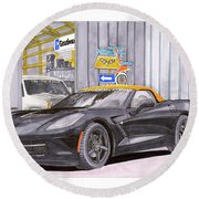 Round Beach Towel featuring the painting 2014 Corvette And Man Cave Garage by Jack Pumphrey
