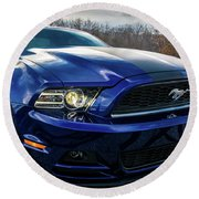Round Beach Towel featuring the photograph 2014 Ford Mustang by Randy Scherkenbach