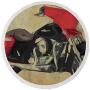 2014 Harley Motorcycle Abstract Art For Bikers Round Beach Towel