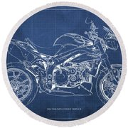 2014 Triumph Street Triple R, Motorcycle Blueprint For Man Cave, Blue Background Round Beach Towel