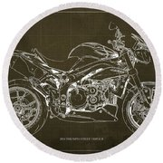 2014 Triumph Street Triple R Motorcycle Blueprint For Man Cave Brown Background Round Beach Towel
