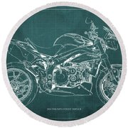 2014 Triumph Street Triple R Motorcycle Blueprint For Man Cave Green Background Round Beach Towel