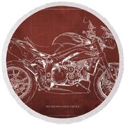 2014 Triumph Street Triple R Motorcycle Blueprint For Man Cave Red Background Round Beach Towel