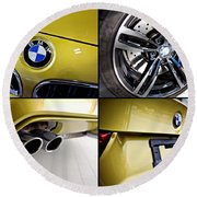 Round Beach Towel featuring the photograph 2015 Bmw M4 Collage  by Aaron Berg