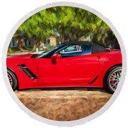 2015 Chevrolet Corvette Zo6 Painted  Round Beach Towel