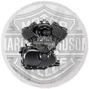 Round Beach Towel featuring the digital art 2015 Harley-davidson Street-xg750 Engine With 3d Badge  by Serge Averbukh