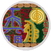 2015 Version Reiki Healing Symbols By Navin Joshi Round Beach Towel