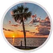 Round Beach Towel featuring the photograph Sunset Over Lake Eustis by Christopher Holmes
