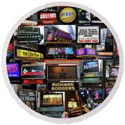 Round Beach Towel featuring the photograph 2016 Broadway Fall Collage by Steven Spak