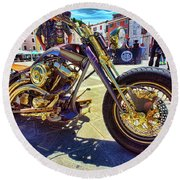 Round Beach Towel featuring the photograph 2016 Custom Harley Winner by Graham Hawcroft pixsellpix