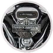 Round Beach Towel featuring the digital art 2017 Harley-davidson Screamin' Eagle Milwaukee-eight 114 Engine With 3d Badge by Serge Averbukh
