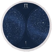 2017 Pi Day Star Chart Azimuthal Projection Round Beach Towel