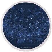 2017 Pi Day Star Chart Carree Projection Round Beach Towel