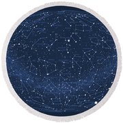 2017 Pi Day Star Chart Hammer/aitoff Projection Round Beach Towel