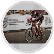 Round Beach Towel featuring the photograph 2017 Time Trial Champion by Norman Peay