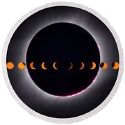 Round Beach Towel featuring the photograph 2017 Total Eclipse And Moon Path by Mark Dodd