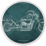 2018 Honda Shadow Aero Abs Blueprint Ghreen Background Gift For Bikers Round Beach Towel
