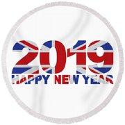 2019 Happy New Year England Flag Illustration Round Beach Towel