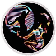 2039s-mak Female Figure In Spotlight Rendered In Composition Style Round Beach Towel
