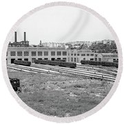 207th Street Railyard Round Beach Towel